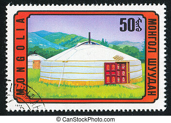 Mongolian yurta - MONGOLIA - CIRCA 1974: stamp printed by...