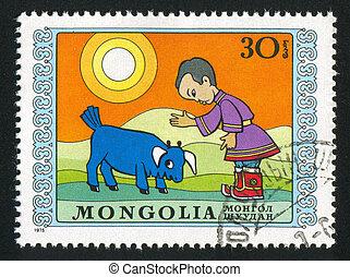 disobedient bull calf - MONGOLIA - CIRCA 1975: stamp printed...