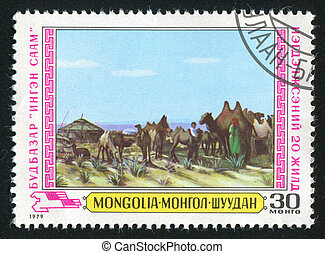 camels - MONGOLIA - CIRCA 1979: stamp printed by Mongolia,...