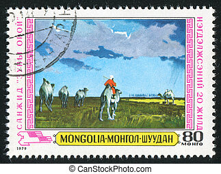 summer evening - MONGOLIA - CIRCA 1979: stamp printed by...