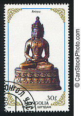 Buddhist deities - MONGOLIA - CIRCA 1988: stamp printed by...