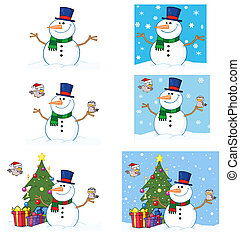 Friendly Snowman With A Cute Birds. Collection