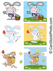 Bunny With Easter Eggs And Basket