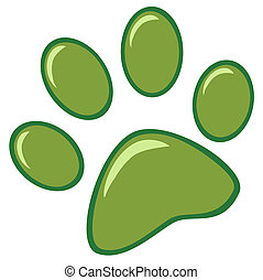 Green Paw Print Cartoon Character