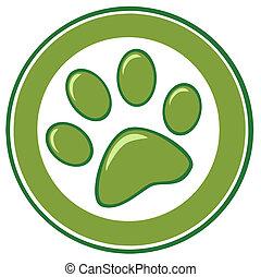 verde, pata, impressão