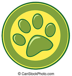 Paw Print  Banner - Paw Print Green And Yellow Banner