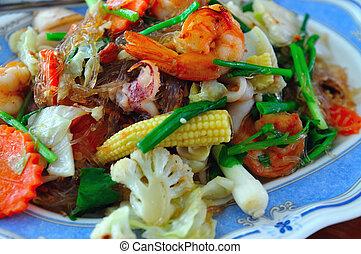 vegetal, frito, camarón