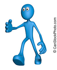 welcome - blue guy says hello - 3d illustration