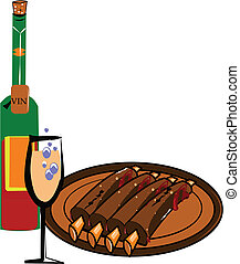 ribs and wine - rack of BBQ ribs dripping in sauce with a...