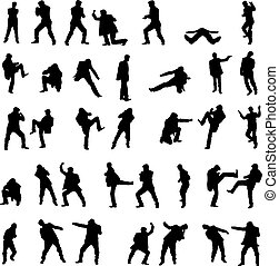 Silhouettes of the fighting men - vector set. - Silhouettes...
