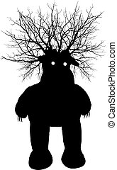 Swamp monster - vector silhouette - Swamp black fabulous...