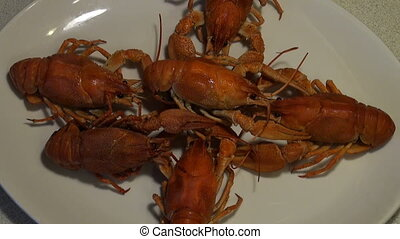 Boiled crayfish on the plate