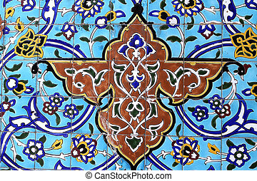 Colorful detail from Iranian mosque in Dubai