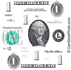 set of original detail 1 $ dollars, with Washington,...
