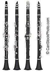 clarinet - Four angles of a classical clarinet woodwind...