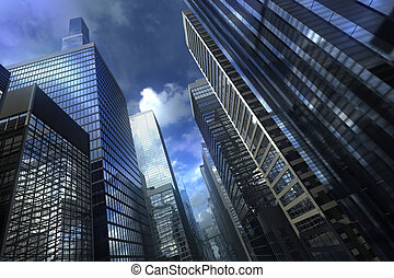 Modern city building with dramatic sky
