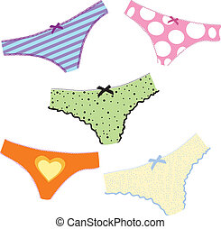 lingerie - woman's cute set lingerie. Colorful vector...