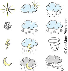 Hand drawn cute weather icons collection. Vector...