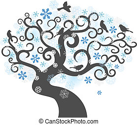 Winter tree background vector illustration - Abstract winter...
