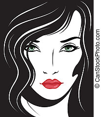 beautiful woman face. Vector illustration.
