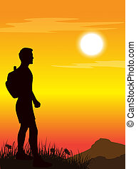 man standing on mountain's top. Vector illustration.