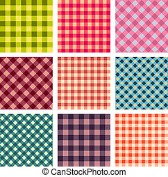 Abstract seamless square pattern set vector illustration