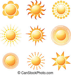 Abstract sun icon collection Colorful vector illustration