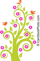 abstract tree with birds. Vector illustration