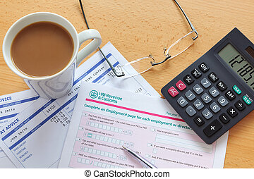 UK tax return still life - Still life photo of a UK...