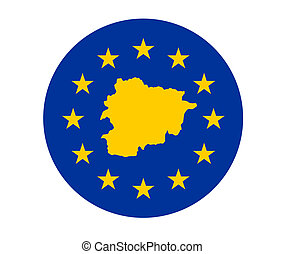 Andorra European flag - Map of Andorra on European Union...