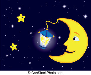 moonlight night - cartoon moonlit night with smiling moon...