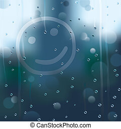rainy smile - smile on window in rainy weather on abstract...