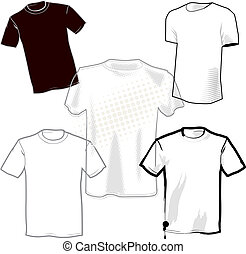 Blank T-Shirts - 5 different t-shirt template designs