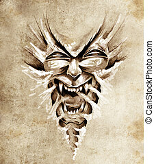 Sketch of tattoo art, monster agressive mask