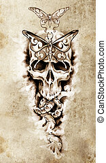 Sketch of tattoo art, skull, death concept illustration