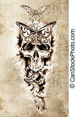 Esboço, tatuagem, arte, cranio, mortos, conceito,...