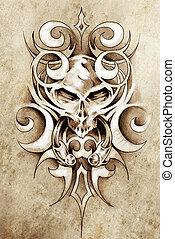 Esboço, tatuagem, arte, monstro, desenho, tribal,...