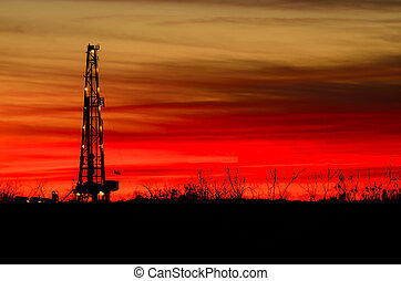 Rig and Sunset - The final rays of sunset before darkness