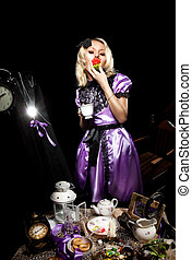 alice in wonderland eat cake on madness tea time
