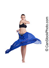Beauty young woman dance with fabric
