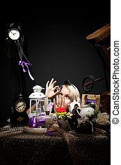 alice in wonderland look at bottle of poison - alice in...