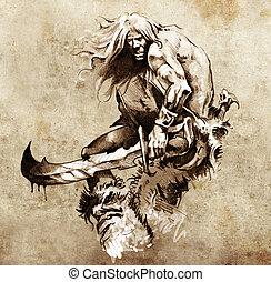 guerreira, Esboço, tatuagem, grande, luta, espada, arte