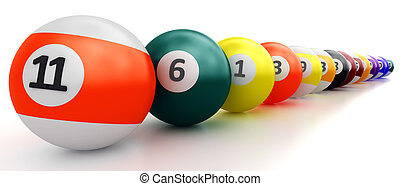 Colorful pool balls over white - A group of colorful pool...