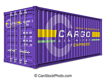 Cargo container - Violet cargo container isolated on white...