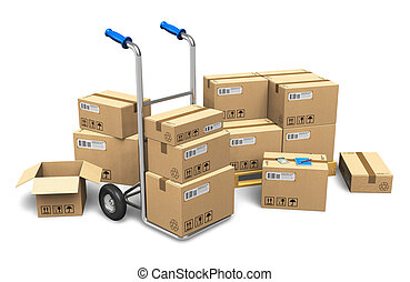 Cardboard boxes and hand truck - Heap of cardboard boxes...