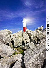 Lighthouse with rocks