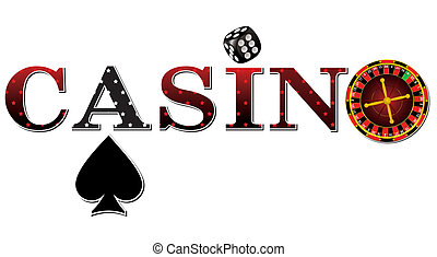 casino sign with roulette, dice and cards on white...