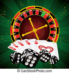 casino symbols roulette wheel, dice and cards on green strip...