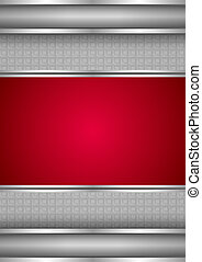 Background template, metallic texture, red blank