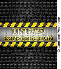 Under construction, black metallic background